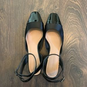 ZARA Patent Leather and Satin Ankle Strap Heel
